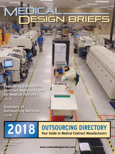 a cover image of the 2018 Medical Design Briefs Outsourcing Directory
